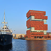 The museum MAS / Museum aan de Stroom in the port of Antwerp, Belgium
