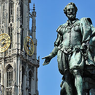 Statue of the Flemish Baroque painter Peter Paul Rubens in front of the Cathedral of Our Lady in Antwerp, Belgium