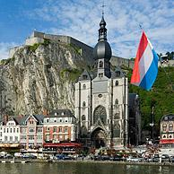 The city Dinant along the river Meuse with the Collegiate Church and the citadel, Belgium