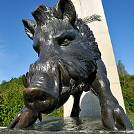 Wild boar of the Chasseurs ardennais regimental Memorial at Martelange in the Ardennes, Belgium