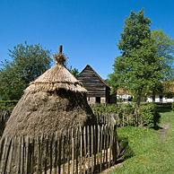 Haystack and traditional house in the open air museum Bokrijk, Belgium