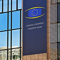 Banner on the Justus Lipsius building, headquarters of the Council of the European Union, Brussels, Belgium
