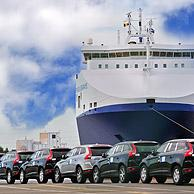 Vehicles from the Volvo Cars assembly plant waiting to loaded on the roll-on/roll-off / roro ship at the Ghent seaport, Belgium