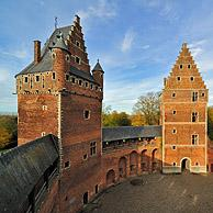 Inner court of the medieval Beersel Castle, Belgium