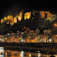 The medieval Bouillon Castle along the Semois river at night, Belgian Ardennes, Belgium