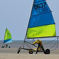 Land sailing / sand yachting / land yachting on the beach at De Panne, Belgium