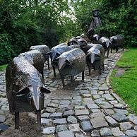 The Sheep Heads monument, a sculpture group created by Bertro Schoofs, Lier, Belgium