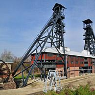 The two winding-wheels at the Bois du Cazier coal mine museum, Marcinelle, Charleroi, Belgium