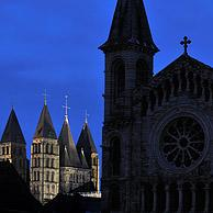 The Our-Ladies' church and cathedral of Notre Dame de Tournai at night, Belgium