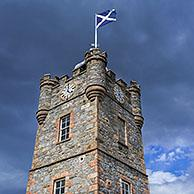19th century Dufftown Clock Tower, previously a prison but now a tourist information centre, Banffshire, Moray, Scotland, UK