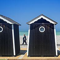 Beach cabins at seaside resort Sainte-Marguerite-sur-Mer along the North Sea coast, Seine-Maritime, Haute-Normandie, Normandy, France