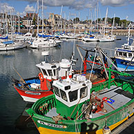 Colorful fishing boats in the harbour of Paimpol, Côtes-d'Armor, Brittany, France <BR><BR>More images at www.arterra.be</P>