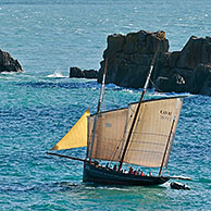 Sailing boat at the Pointe du Grouin, Brittany, France