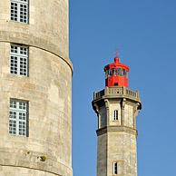 The old Tour Vauban and the new lighthouse Phare des Baleines on the island Ile de Ré, Charente-Maritime, France