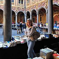 Second-hand book market in the inner court of the Vieille Bourse, Lille, France