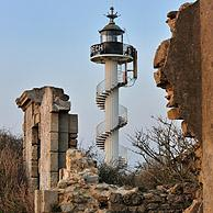 The Alprech lighthouse with spiralling exterior staircase near Le Portel, Côte d'Opale / Opal Coast, France