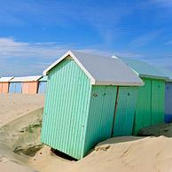 Colourful beach cabins, Berck, Côte d'Opale, France
