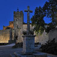 The mediaeval fortified village Larressingle at night in the Pyrenees, France