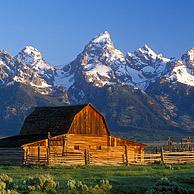 The John Moulton Barn on Mormon Row at the base of the Tetons in the Grand Teton National Park, Wyoming, US