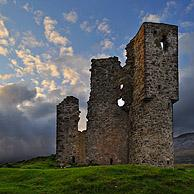 The Ardvreck Castle ruins at Loch Assynt in the Highlands at sunset, Scotland, UK