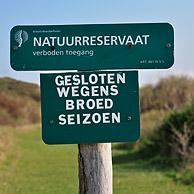 Prohibition sign of nature reserve at nest site, the Netherlands