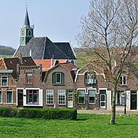 The Sailor church and traditional houses in the village Oudeschild, Texel, the Netherlands