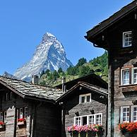 View over the Matterhorn mountain from Zermatt in the Alps, Valais, Switzerland